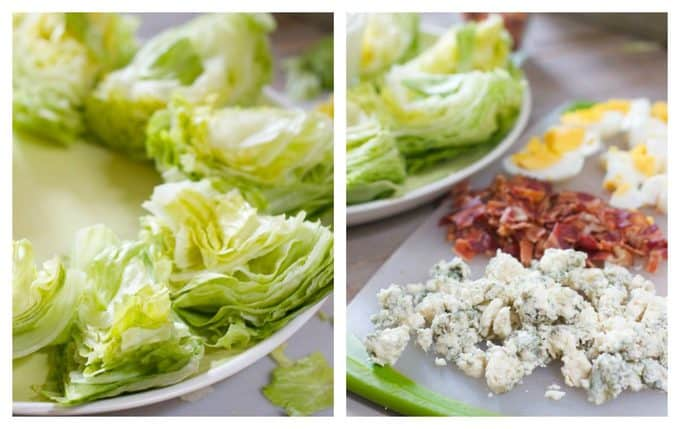 Making a wedge salad platter