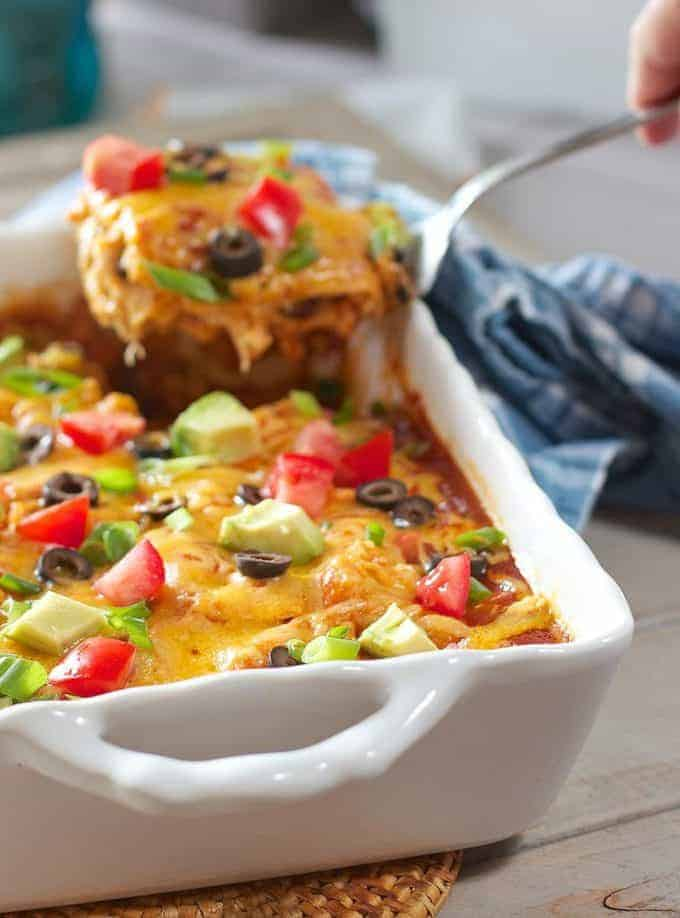 Chicken Enchilada Casserole being served
