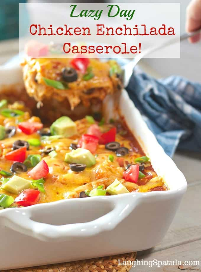 Easy Chicken Enchilada Casserole!   Whip up this easy casserole on a lazy day! Using store-bought rotisserie chicken this family favorite comes together in a flash! #chickenenchilada #enchiladacasserole #healthycasserole