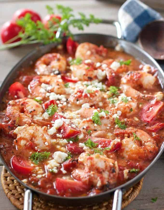 Baked Shrimp Tomatoes and Feta Casserole