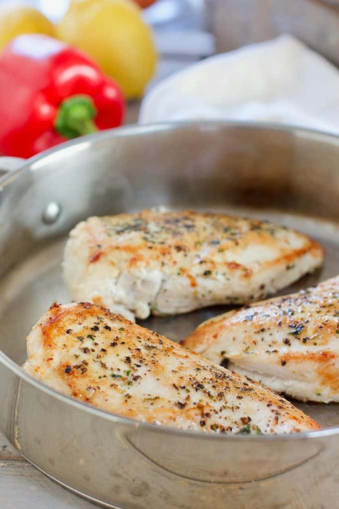 Searing chicken breasts in skillet