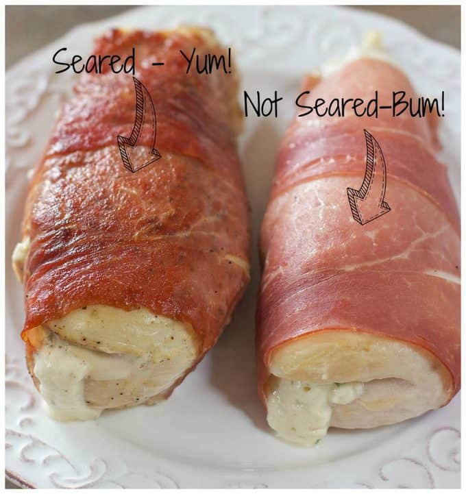 Prosciutto Wrapped Chicken Breasts Seared and not seared