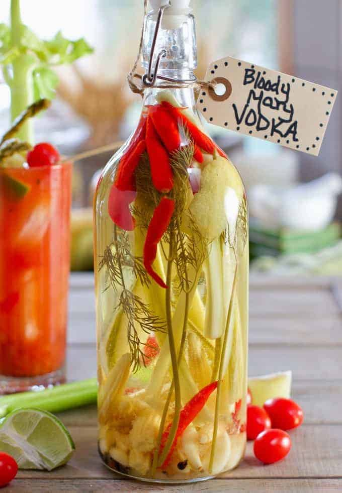 An easy to make, savory infused vodka that pairs perfectly with Bloody Mary's and makes a great gift!