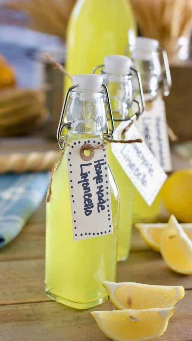 Homemade Limoncello in a beautiful bottle
