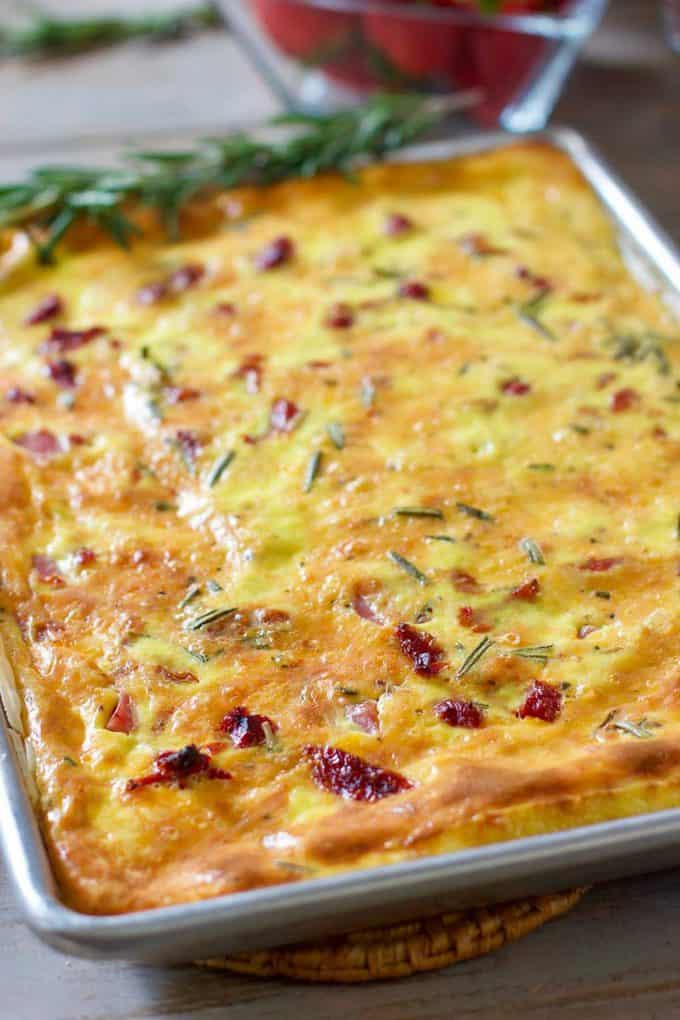Baked and ready to cut Sheet Pan Quiche