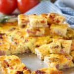 sheet pan quiche bites served