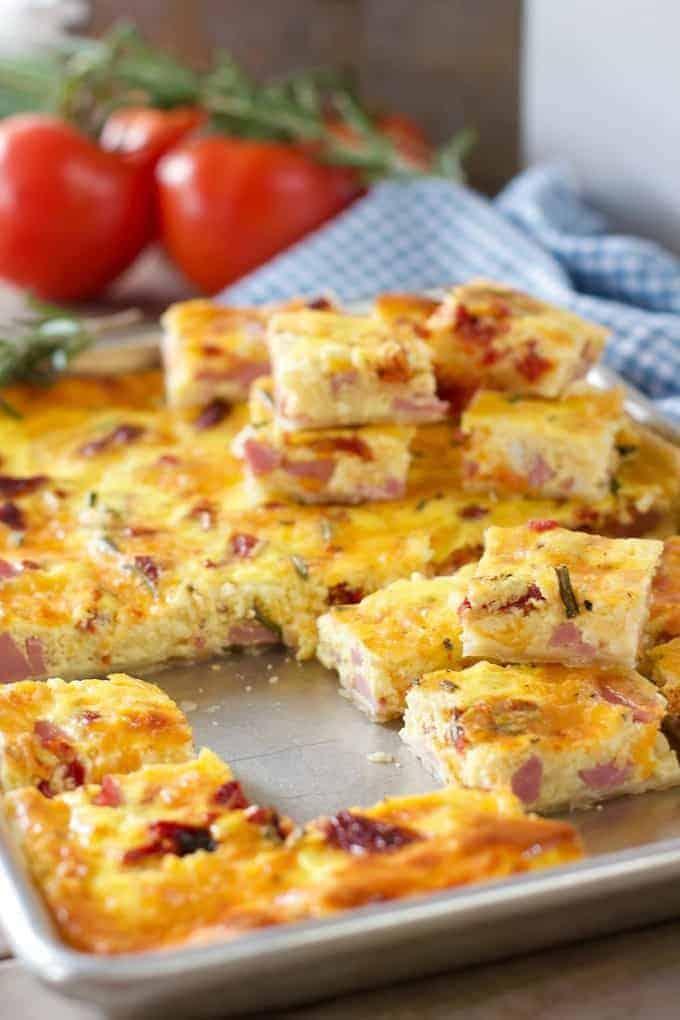 sheet pan quiche bites served