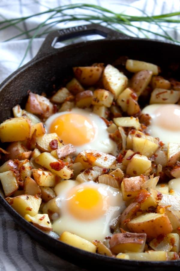 egg skillet before adding garnish