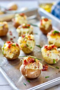 Baked Potato Bites on a sheet pan