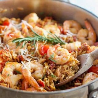 30 Minute Shrimp and Orzo with Sun Dried Tomatoes