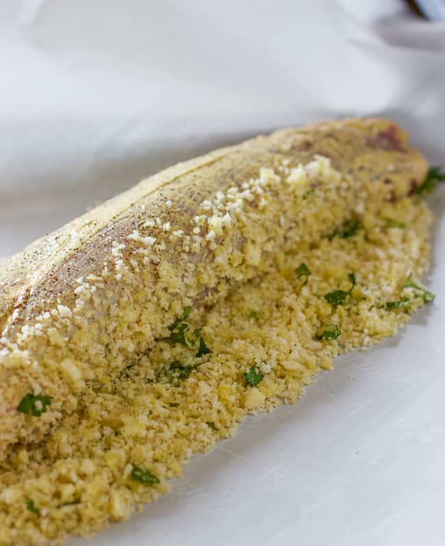 Pork Tenderloin slathered in dijon mustard and rolled in panko crumbs