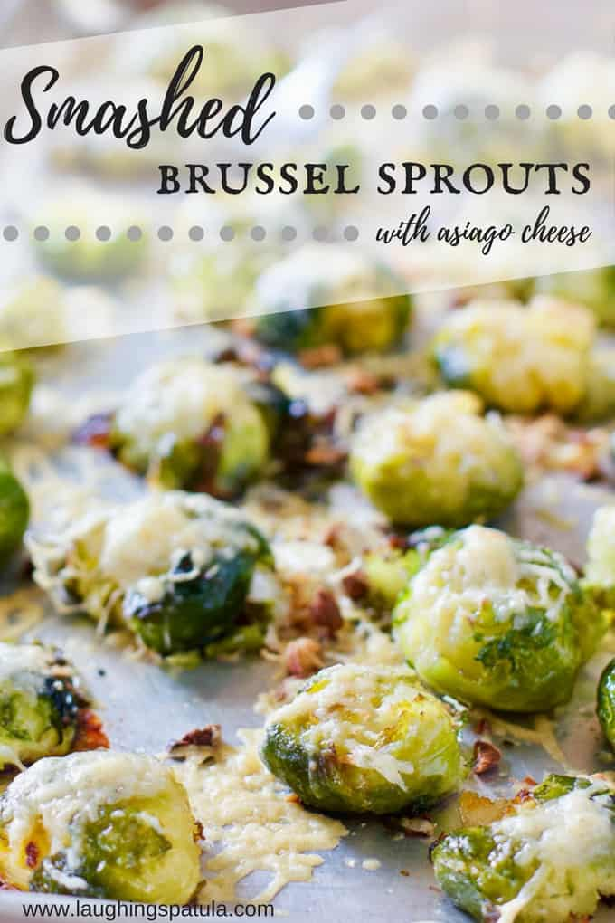 These Smashed Brussels Sprouts will be your new fave veggie!  A quick boil, a smash and a sprinkle of cheese.  Bake till crispy and everybody loves you! #brusselssprouts #sheetpanveggie #healthyfood