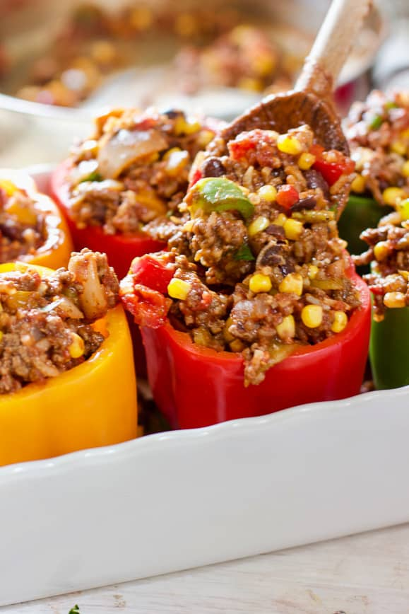 Stuffing Southwest Peppers with beef mixture
