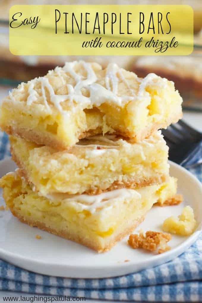 These Easy Pineapple Bars come together in 10 minutes using canned crushed pineapple and just a few pantry staples for the crust!