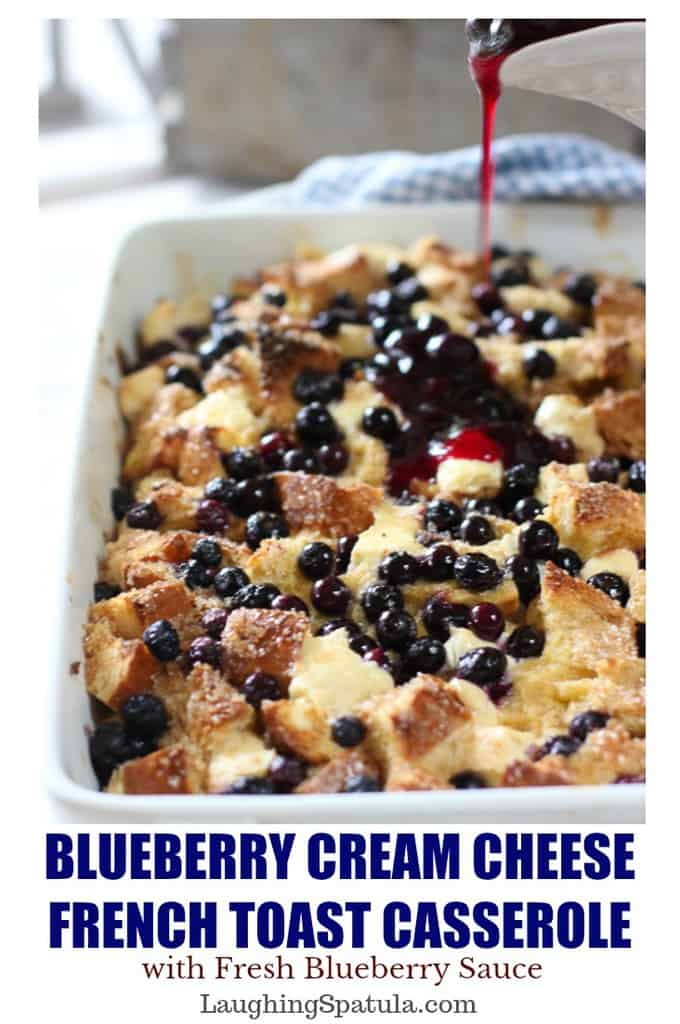 An easy and delicious breakfast or brunch casserole! This Blueberry French Toast Casserole comes with an easy to make blueberry sauce recipe as well! #brunch #easterrecipe #frenchtoast #breakfastforacrowd #mothersdayrecipe
