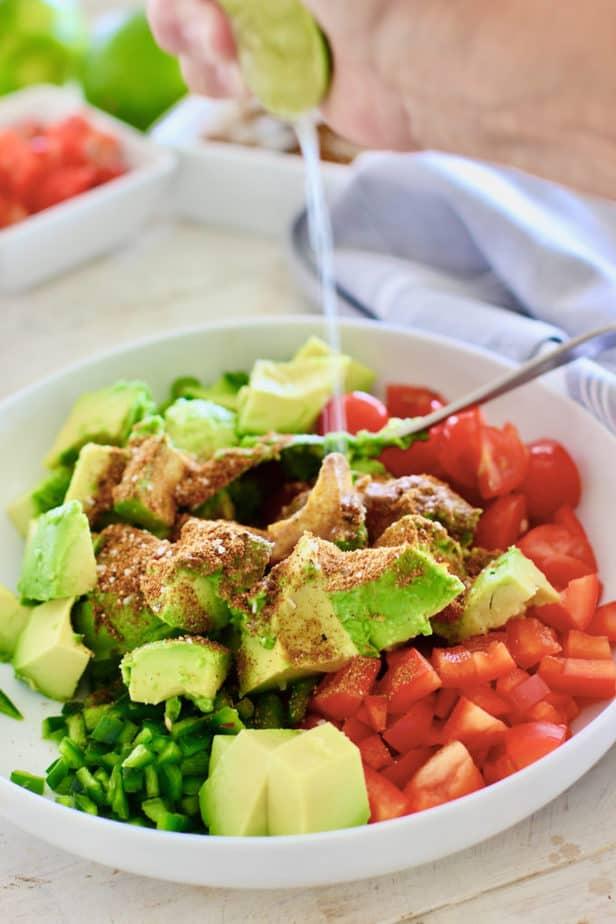 making avocado salsa