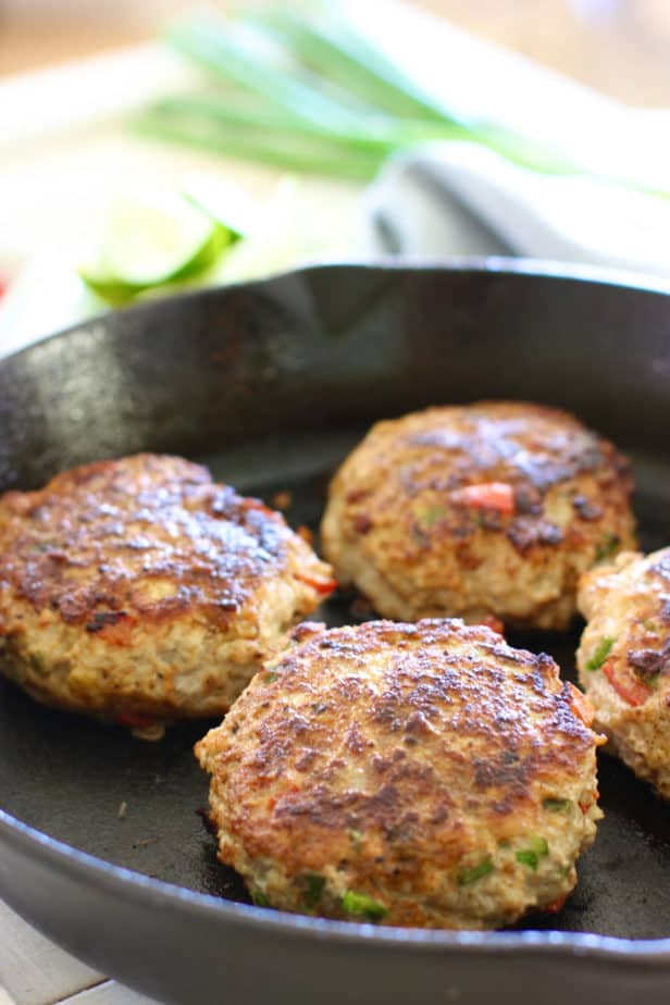 grilled chili lime burgers in cast iron pan