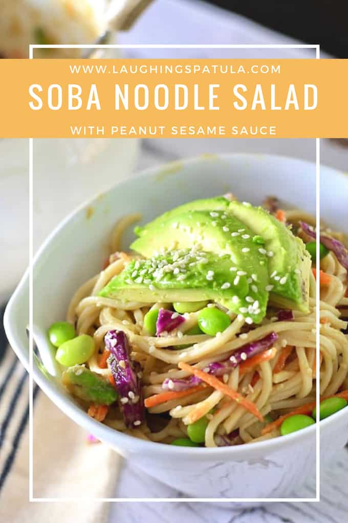 This delicious dish comes together in 30 minutes and bonus- it's vegetarian, but you'd never know it! Healthy, fresh, tasty and easy. Yum! #dinner #soba #peanutsauce #30minutemeal