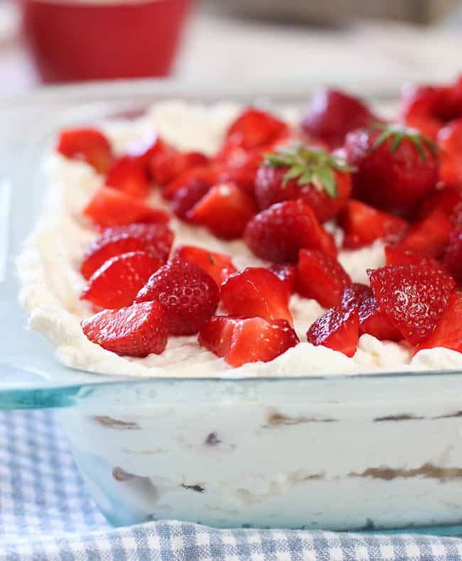 Strawberry Shortcake Icebox cake ready to serve