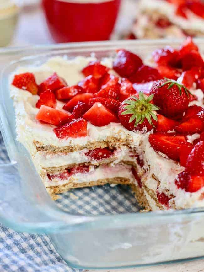 Fresh Strawberry Icebox Cake served in a glass pan