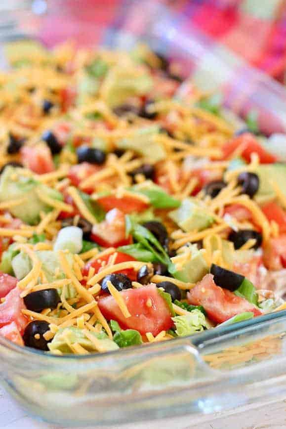 Skinny Taco Dip ready to serve