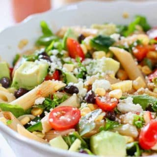 Tex Mex Pasta Salad with Chili Tomato Vinaigrette