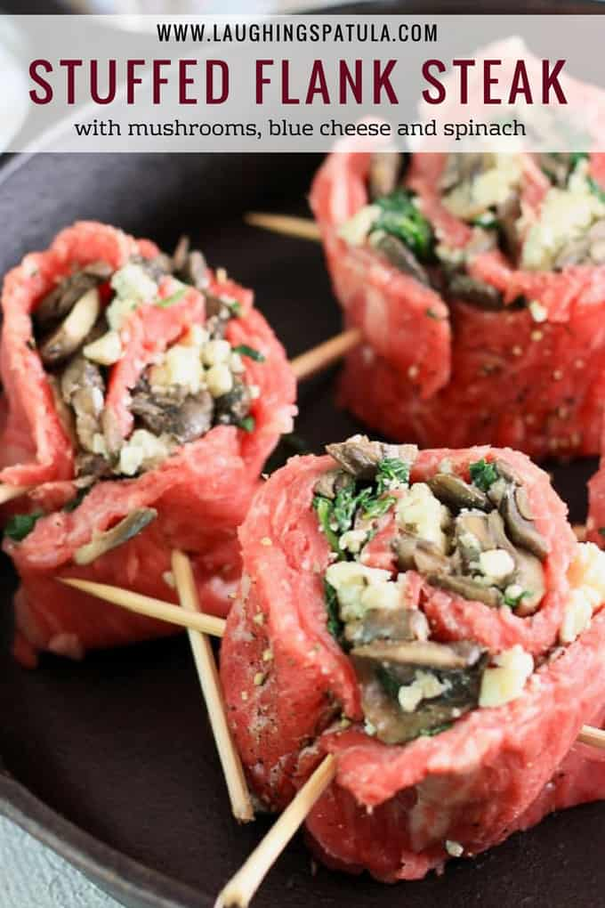 This Stuffed Flank Steak with Mushrooms, Spinach and Blue Cheese is delicious and easy! #dinner #steak #stuffedsteak #weeknightmeal
