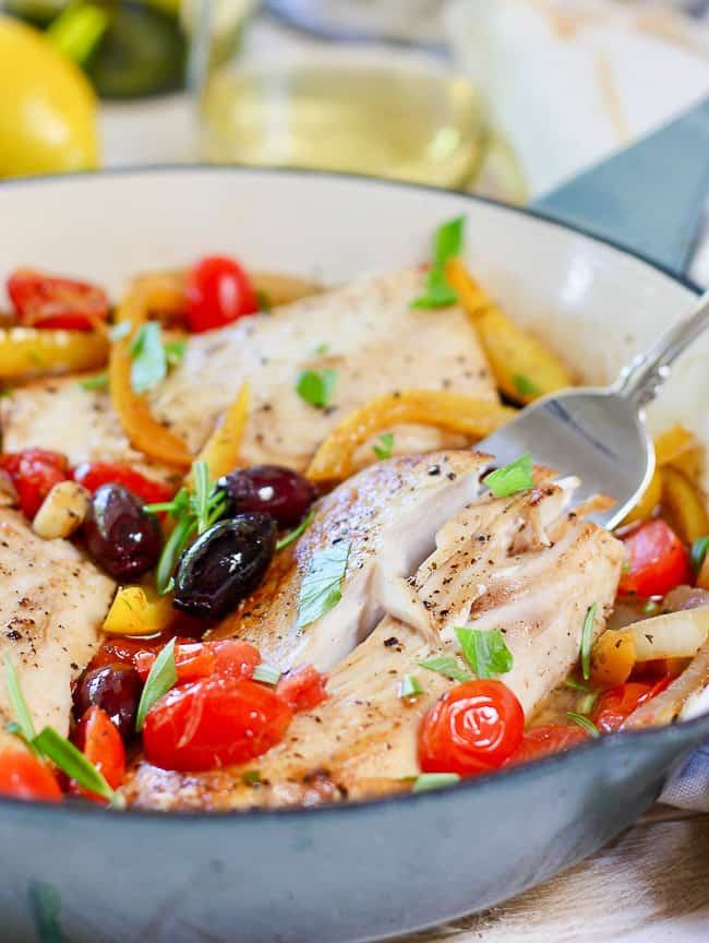 30-minute mediterranean fish skillet- quick and easy dinner recipes