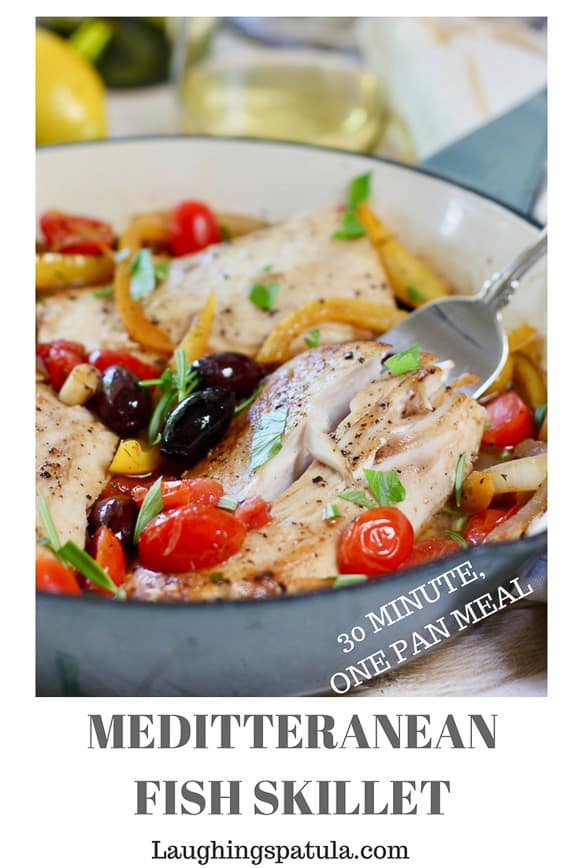 This Easy Mediterranean Fish Skillet comes together in less than 30 minutes and in one pan!  Full of fresh vegetables and flavors! #paleo #whole30 #greekfish #easyfish #mahirecipe #codrecipe #halibutrecipe #healthyrecipe #easyfishreipe #healthyfishrecipe