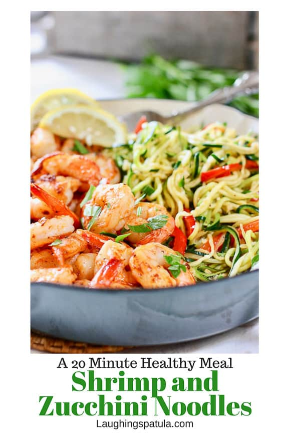 This Zucchini Noodles with Shrimp comes together in one pan and  in about 20 minutes!  Packed with protein and veggies!  A perfect quick healthy meal! #zoodles #zuchhinirecipes #easyzoodles #shrimp #healthymeals #onepanhealthymeal #shrimprecipes
