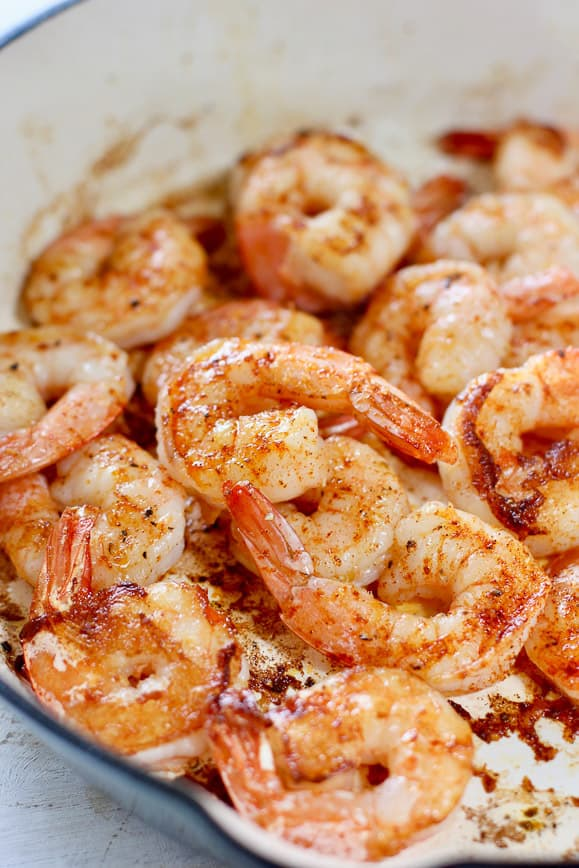Shrimp sautéed in blue pan
