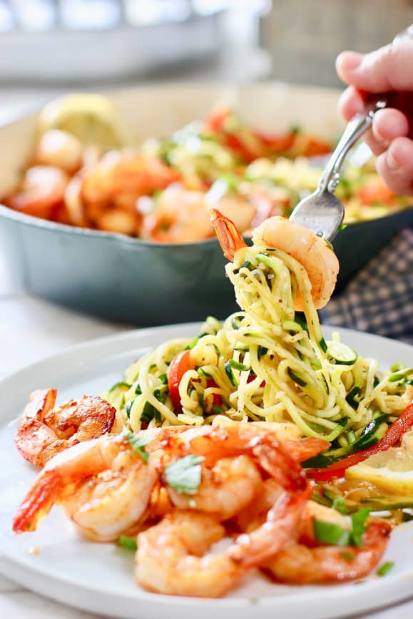 Zoodles and Shrimp on a small white plate