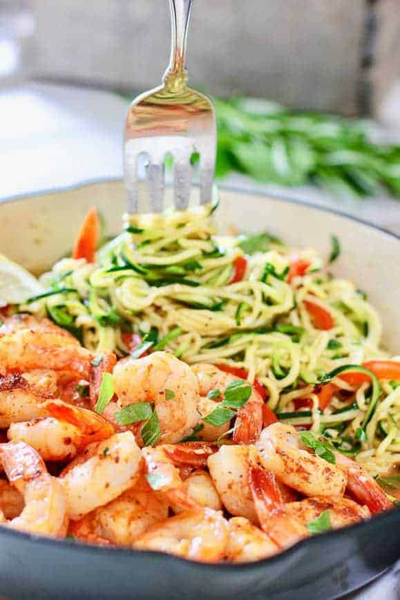 Healthy Shrimp and Zoodles in blue skillet