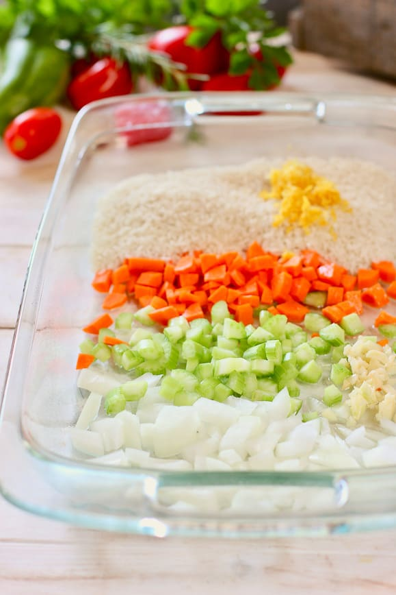 Rice and veggies in a baking dish