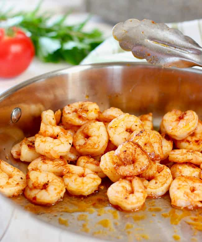 shrimp saute in skillet