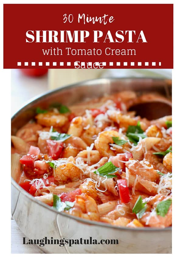 This 30 Minute Shrimp in Tomato Cream Sauce is easy to prepare and only half the fat of full cream sauce and twice the flavor! #easypastadish #easyshrimprecipe #tomatocreamsauce #onepan #healthypastarecipes