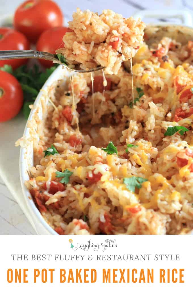 All you do is combine a few ingredients, bake it, and you have PERFECT baked Mexican rice- really, it's restaurant quality! #onepot #mexicanrice #spanishrice