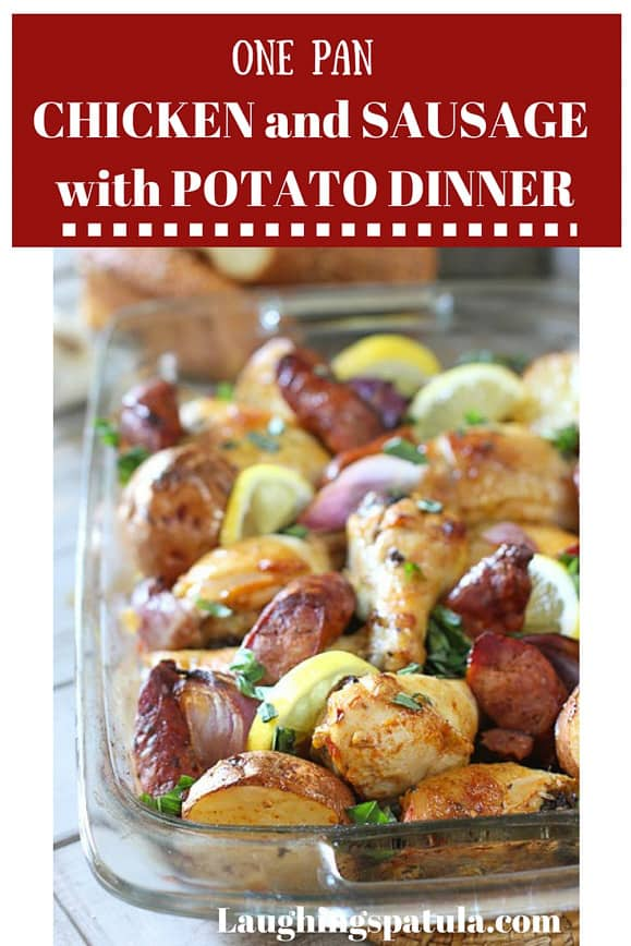This Easy, Fast and Fresh Chicken, Sausage and Potatoes Dinner will become your go to meal!  Made with whole ingredients with a 10 minute prep time! #chicken #whole30 #easybakedchicken