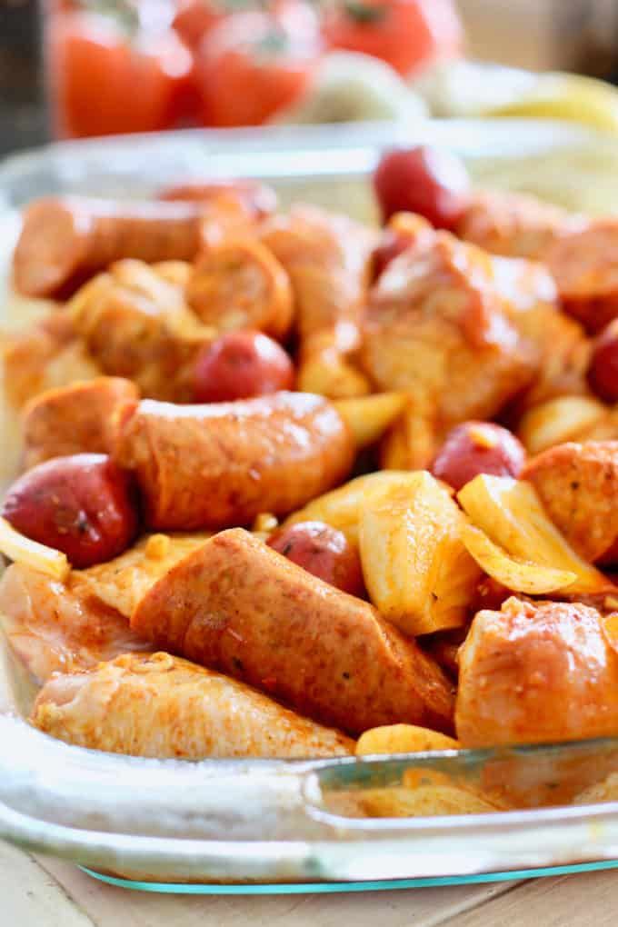 chicken and sausage tossed in marinade