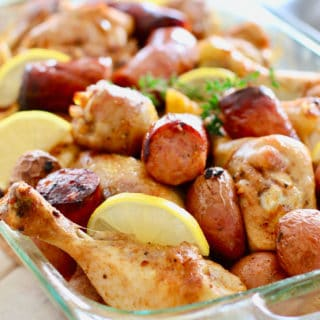Chicken Sausage and potatoes in a 9 x 13 glass pan