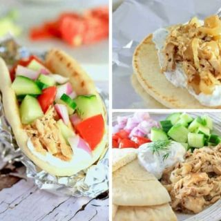 A collage of greek chicken pictures- a gyro, a plate of greek chicken, and a picture of greek chicken going into a pita with a fork
