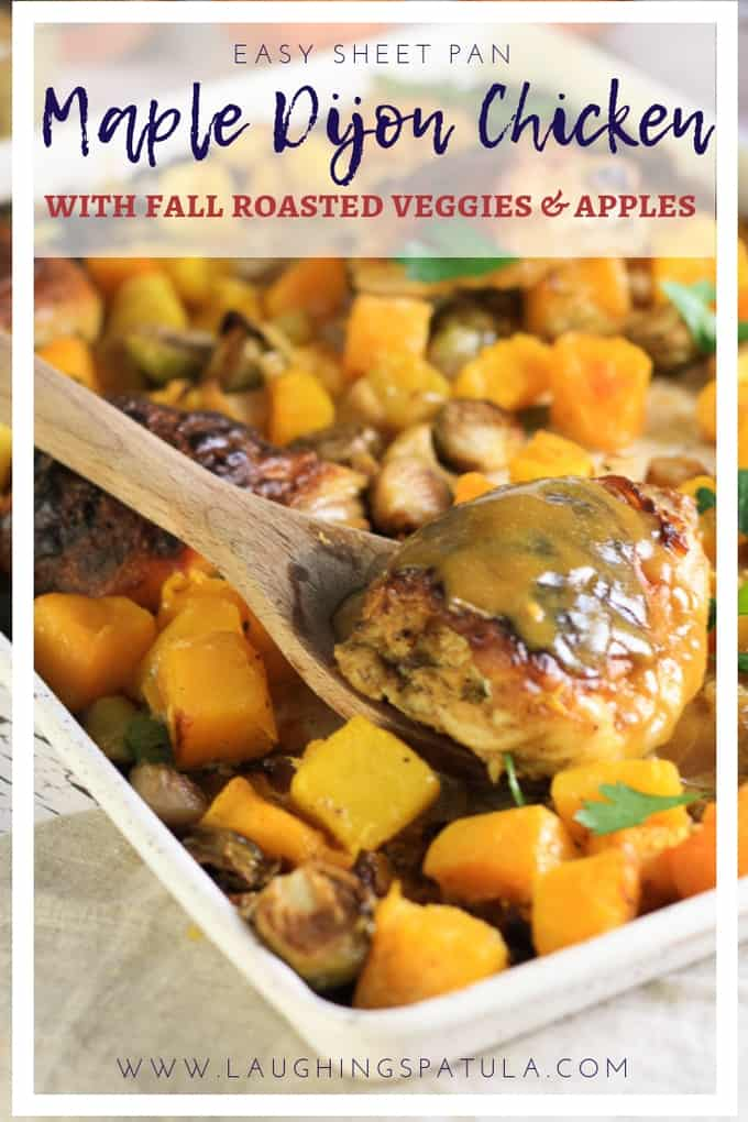 This EASY Sheet Pan Chicken recipe is PERFECT for fall! #chicken #sheetpandinner #easyweeknightmeal #dijonchicken #keto #vegetables #fallmeals #squash #butternutsquash