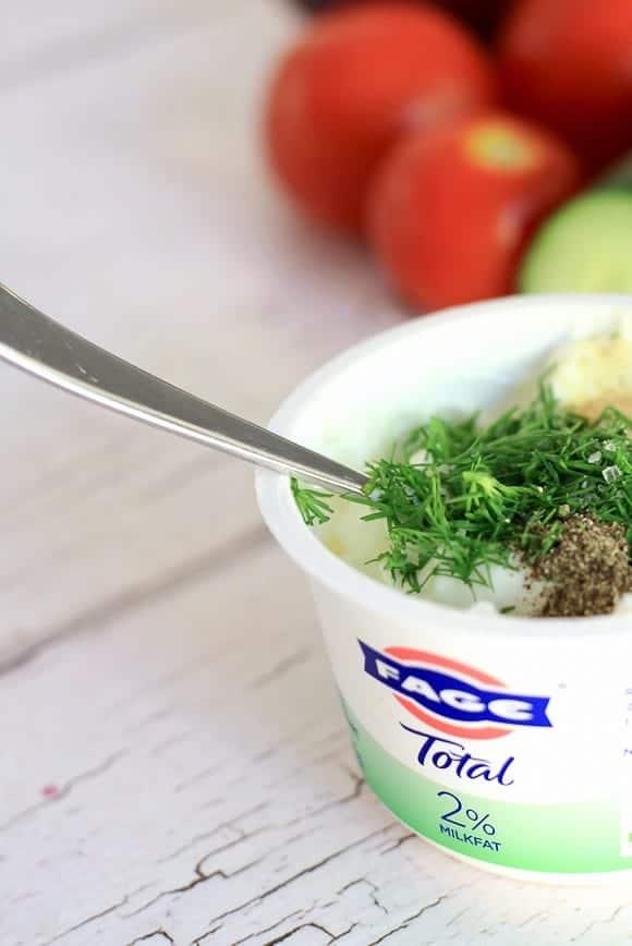 fage yogurt mixing in Tzatiki ingredients