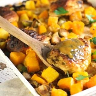 maple dijon roasted chicken on a sheet pan with brussel sprouts apples and butternut squash