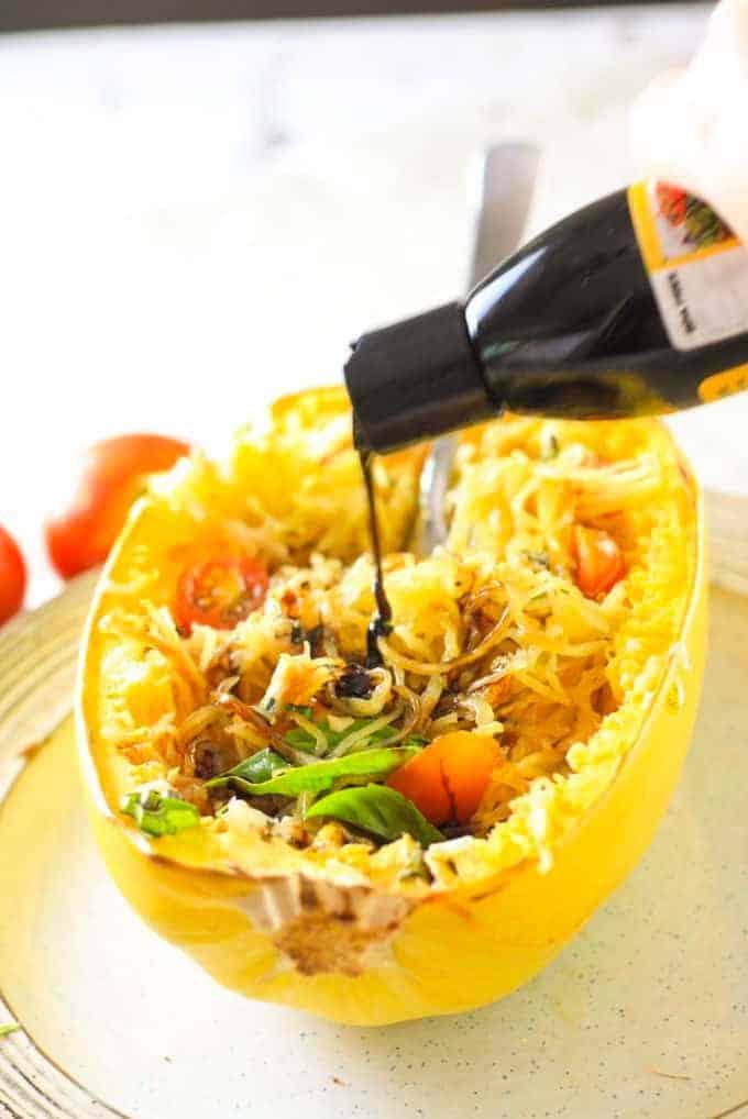 adding balsamic reduction to caprese spaghetti squash