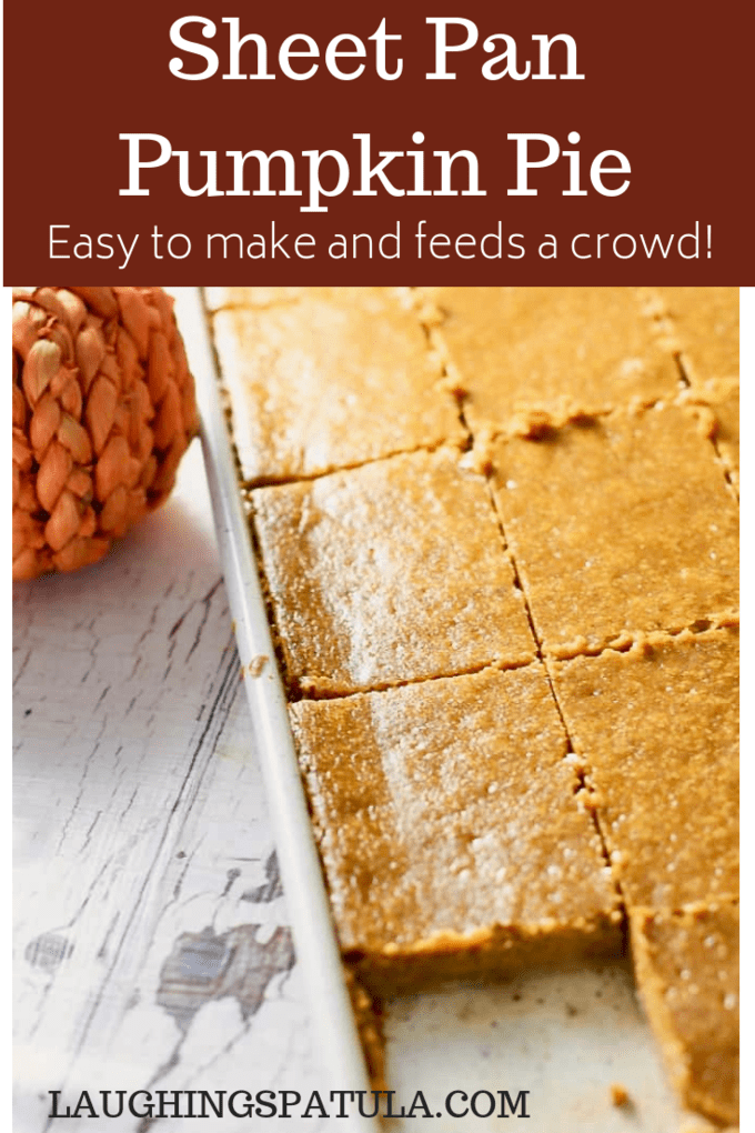 This delicious & simple sheet pan pumpkin pie is a new twist on an old classic! Cooked & served on a sheet pan, it serves a crowd of 20-24 people. #thanksgiving #pumpkinpie #slabpie #pumpkin #sheetpan #easydessert #thanksgivingdessert #dessertforacrowd