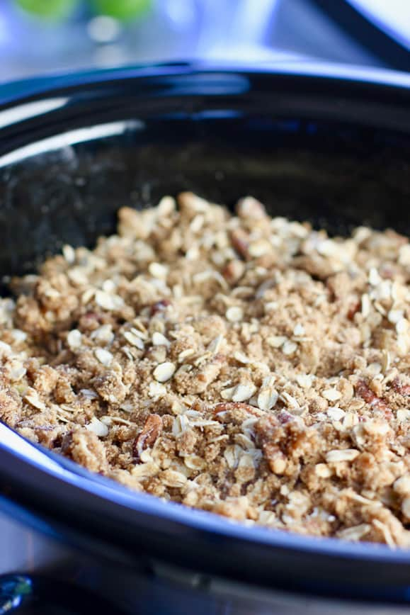 apple crisp ready to cook in the slow cooker