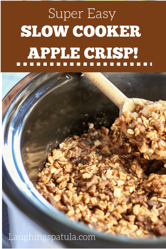 This Easy Slow Cooker Apple Crisp is full of fresh apples and crunch pecan topping!  This recipe makes an extra large batch of topping, it's the best part! #applecrisp #slowcookerdessert #dessertforacrowd #holidaydessert