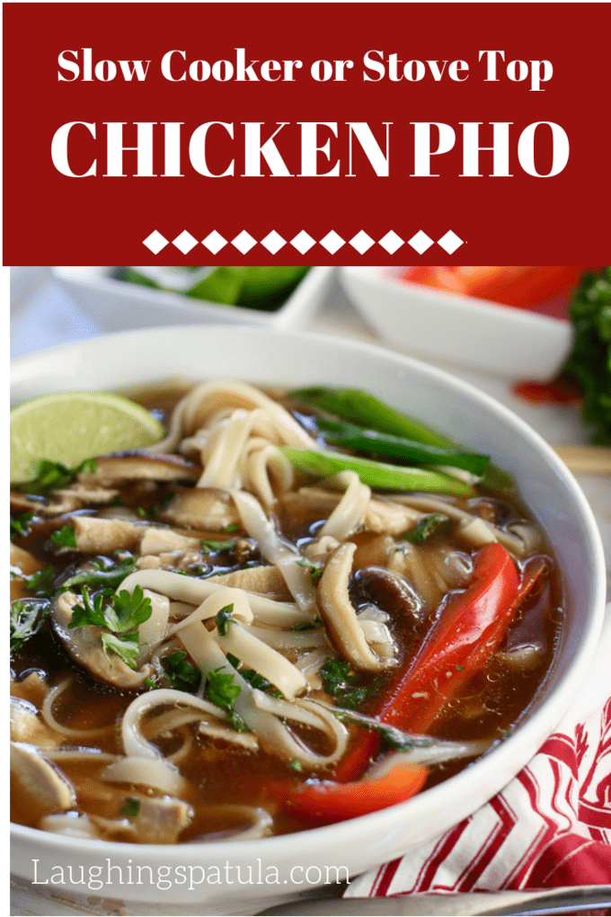 Clear broth, tender noodles, chicken, mushrooms and a plethora of veggies make up this steamy and comforting bowl of Slow Cooker Chicken Pho! #pho #howtomakepho #easypho #homemadepho #slowcookerchicken #slowcookersoup #healthypho