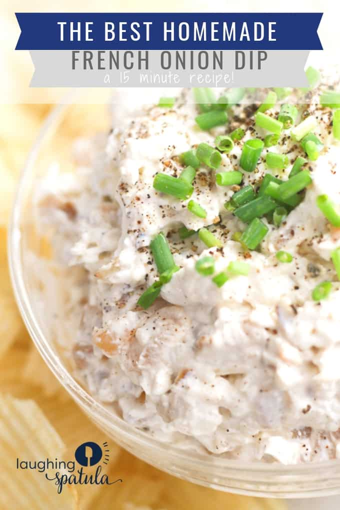 15 minutes + some caramelized onions and you have yourself homemade French onion dip. So easy and delicious! #oniondip #frenchoniondip #appetizer #gamedayfood #footballfood #superbowlfood #partyfood #chipsanddip